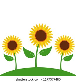 sunflower cartoon floral garden summer illustration concept design vector