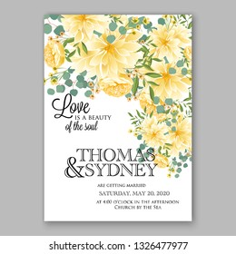 Sunflower Chrysanthemum wedding invitation vector floral background template