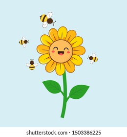 Sunflower with cute bees isolated on blue background. cute cartoon character vector illustration.