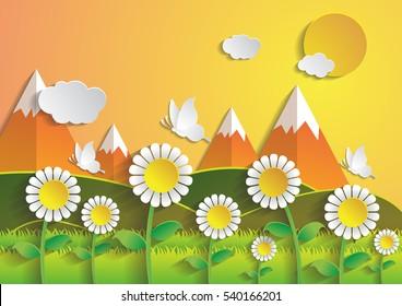 Sunflower field with summer season.paper art style.