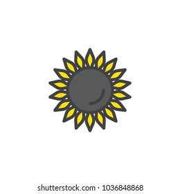 Sunflower filled outline icon, line vector sign, linear colorful pictogram isolated on white. Helianthus symbol, logo illustration.