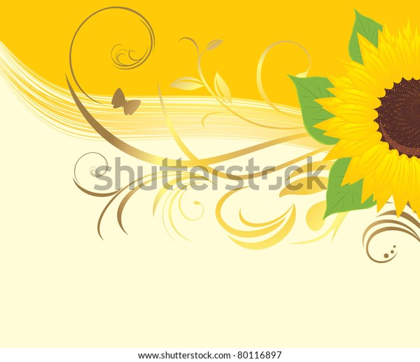 sunflower-floral-ornament-on-yellow-600w