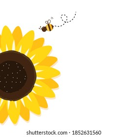 Sunflower and flying bee cartoon on white background vector illustration.