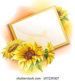 Sunflower frame background, oil painting flower