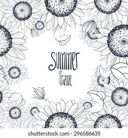 sunflower frame seamless pattern, monochrome style