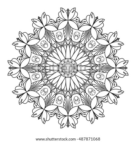 Sunflower And Fuchsia Themed Mandala Use For Adult Coloring Pages Embellishments Or Background
