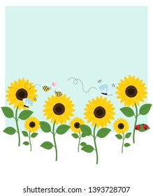 Sunflower garden with flying bees, butterfly, lady bug on blue background vector illustration.