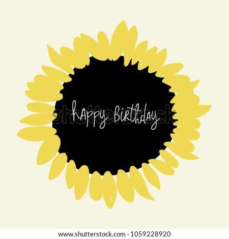Sunflower Greeting Card Happy Birthday Center Stock Vector Royalty