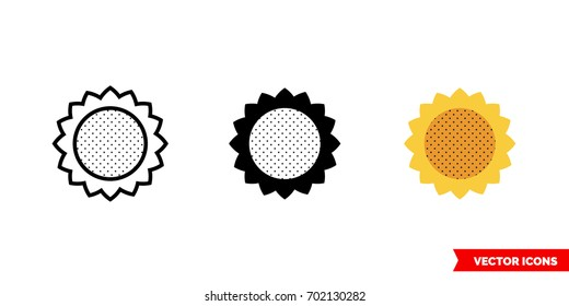 Sunflower icon of 3 types: color, black and white, outline. Isolated vector sign symbol.