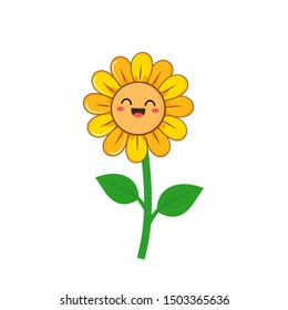 Sunflower icon isolated on white background, cute cartoon character vector illustration.