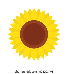 Sunflower icon, isolated on white background, flat style - Vector illustration