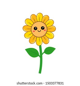 Sunflower isolated on white background cute cartoon character icon. vector illustration
