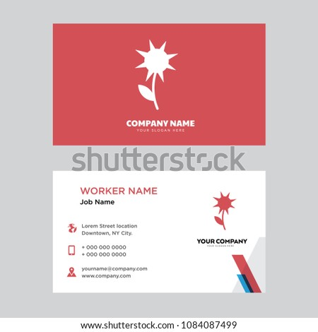 sunflower leaf business card design template stock vector royalty