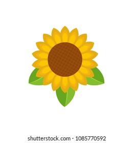 Sunflower leaf icon. Flat illustration of sunflower leaf vector icon for web