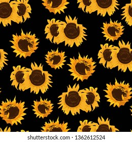 sunflower leaf seamless pattern flat 260nw 1362612524