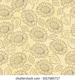 Sunflower line vector seamless pattern on light yellow background, country style