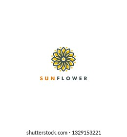 Sunflower logo Template Nature icon design vector illustration. leaf loop logotype luxury