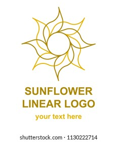 Sunflower logotype template. Linearfloral logo concept for a flower shop. Vector design element isolated on white background.