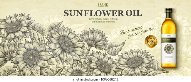 Sunflower oil ads in engraving style with realistic product in 3d illustration on floral garden scene