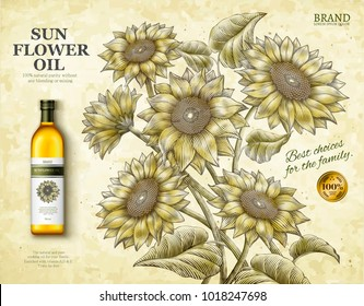 Sunflower oil ads, exquisite cooking oil product in 3d illustration with retro etching shading style sunflowers