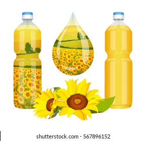 Sunflower oil in bottles and drop on a white background