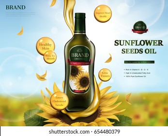 sunflower oil contained in glass bottle with oil flow element, sunflower farm 3d illustration