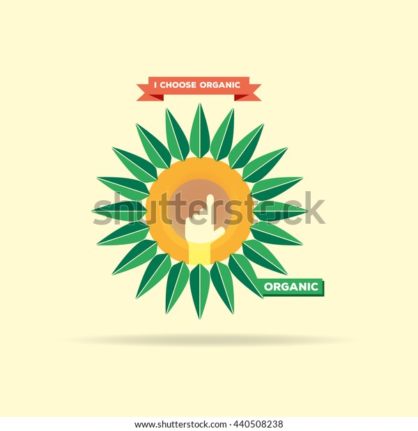 Sunflower oil label organic logo on a yellow background. Vector illustration.