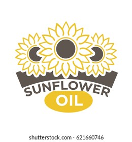Sunflower oil label with yellow flower with black dieting seeds