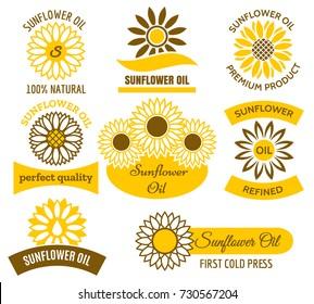 Sunflower oil logo set. Vector sunflowers sun field plants labels and emblems set