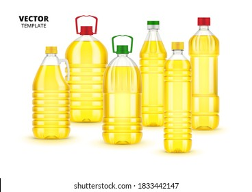 Sunflower oil plastic bottles with label. Isolated vector yellow sunflower oil food. Vegetarian organic ingredient for cooking in containers on white background