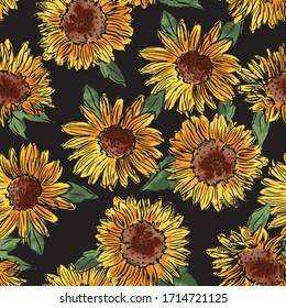 Sunflower Pattern. Vector Seamless. Textural hand drawn elements on black ground.