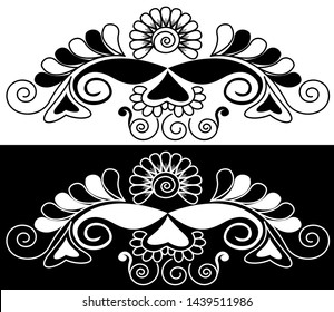 Sunflower with petals and Spirals - Indian Traditional and Cultural Border design of Rangoli, Alpona, Kolam or Paisley vector line art with dark and white background