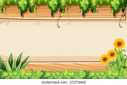 Sunflower and plants design frame