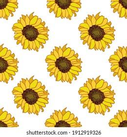 Sunflower repeat pattern design illustration