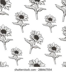 Sunflower seamless pattern.