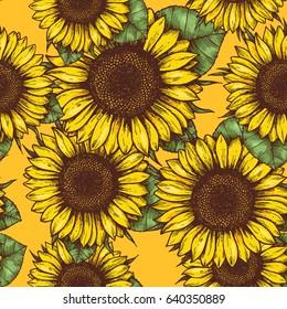 Sunflower seamless pattern. Sunflower fabric background. Vector illustration