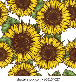Sunflower Seamless Pattern Fabric Background Vector Illustration