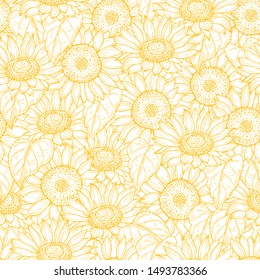 Sunflower seamless pattern. Vector line yellow flowers texture background