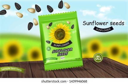 Sunflower seeds package Vector realistic. Product packaging mock up. Detailed 3d design