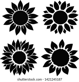 Sunflower set  isolated, for cutting