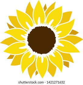 Sunflower silhouette, cutting frame, Yellow summer flower - vector.