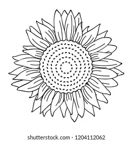 sunflower simple drawing outline for coloring book vector illustration EPS10