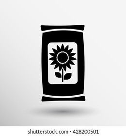 Sunflower sprout from soil vector logo concept farm icon seeds