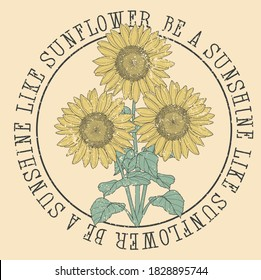 SUNFLOWER SUNSHINE WILD TSHIRT GRAPHICS DESIGN