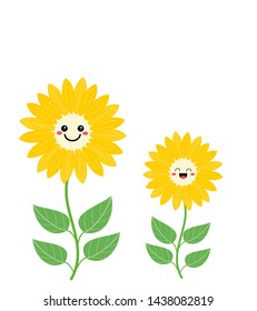 Sunflower vector on white background. Beautiful flower with cute cartoon face.