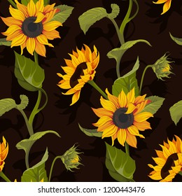 Sunflower vector seamless pattern floral texture on black background