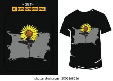 sunflower vector t shirt design.