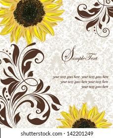 Sunflower Wedding Invitation. Brown and Yellow