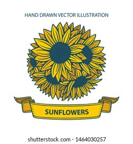 Sunflowers bouquet.  Hand drawn vector antique engraving style illustration. Black and white vintage sketch of a sunflower. Linear art. Tattoo blooming sunflowers. Part of set.