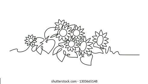 Sunflowers continuous one line vector drawing. Blooming flowers on field hand drawn silhouette. Floral sketch. Blossom minimalistic contour illustration. Nature, plants isolated design element
